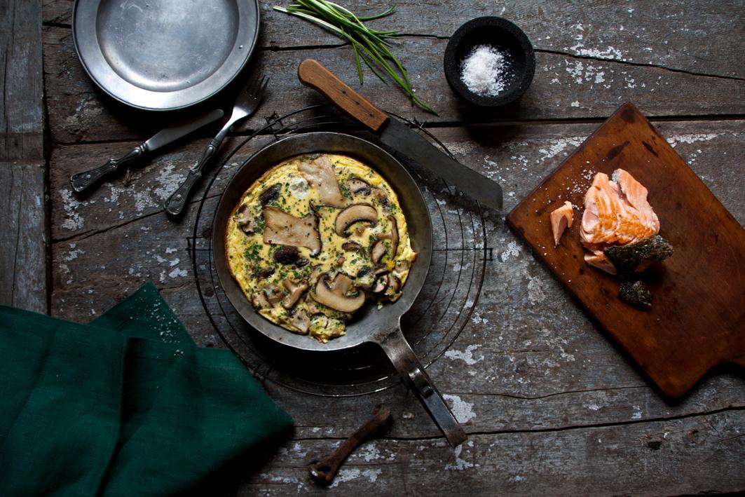 pilz omelette mit lachs