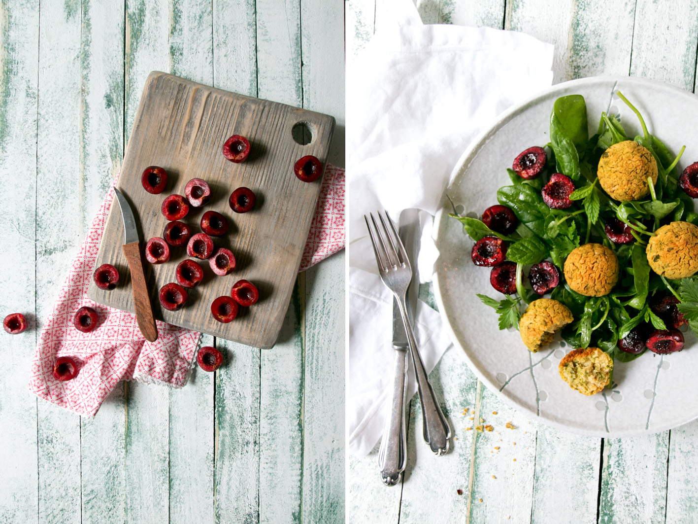 salat falafel geröstete kirschen