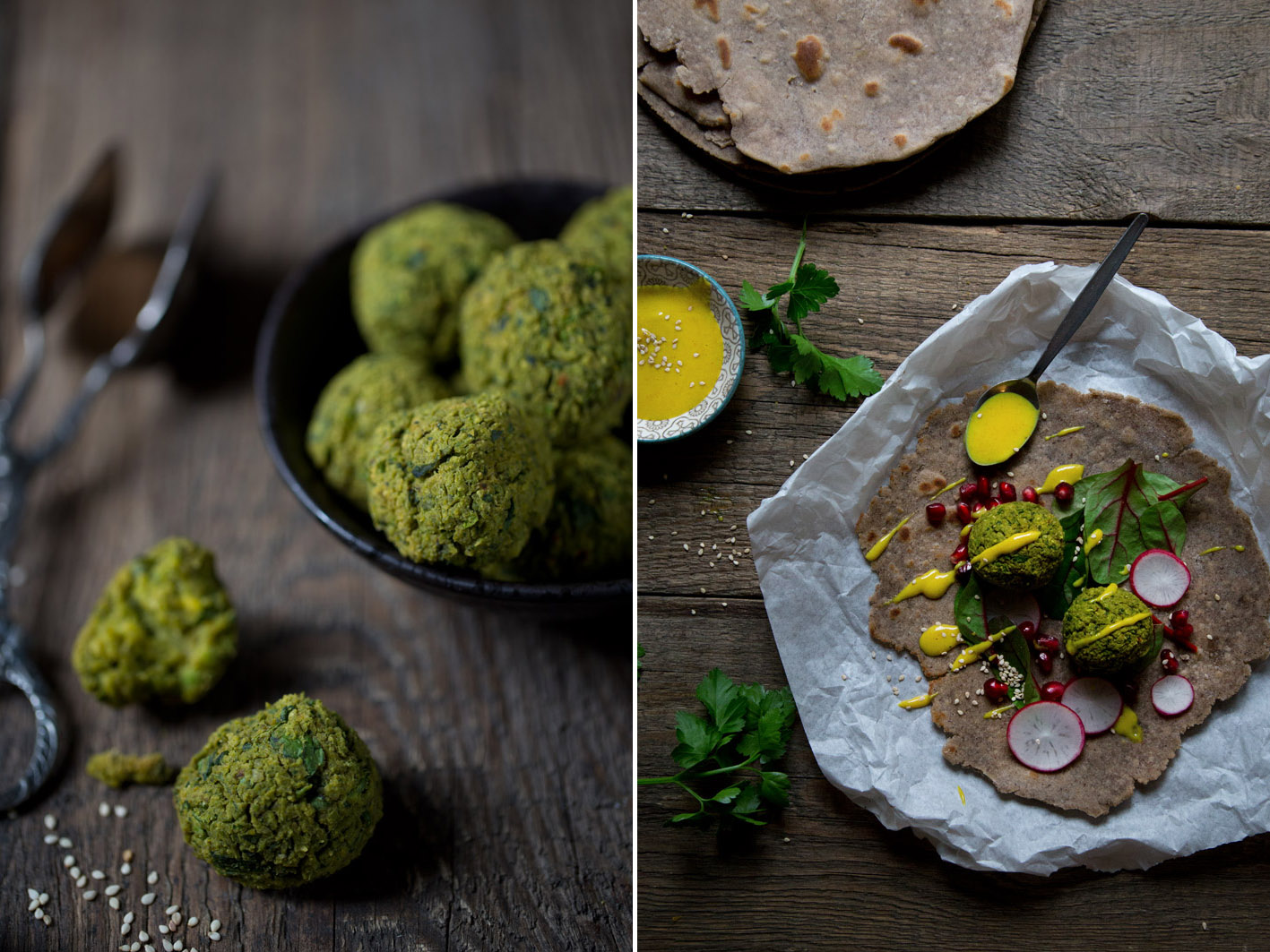 falafel wraps aus Buchweizen mit kurkuma dip