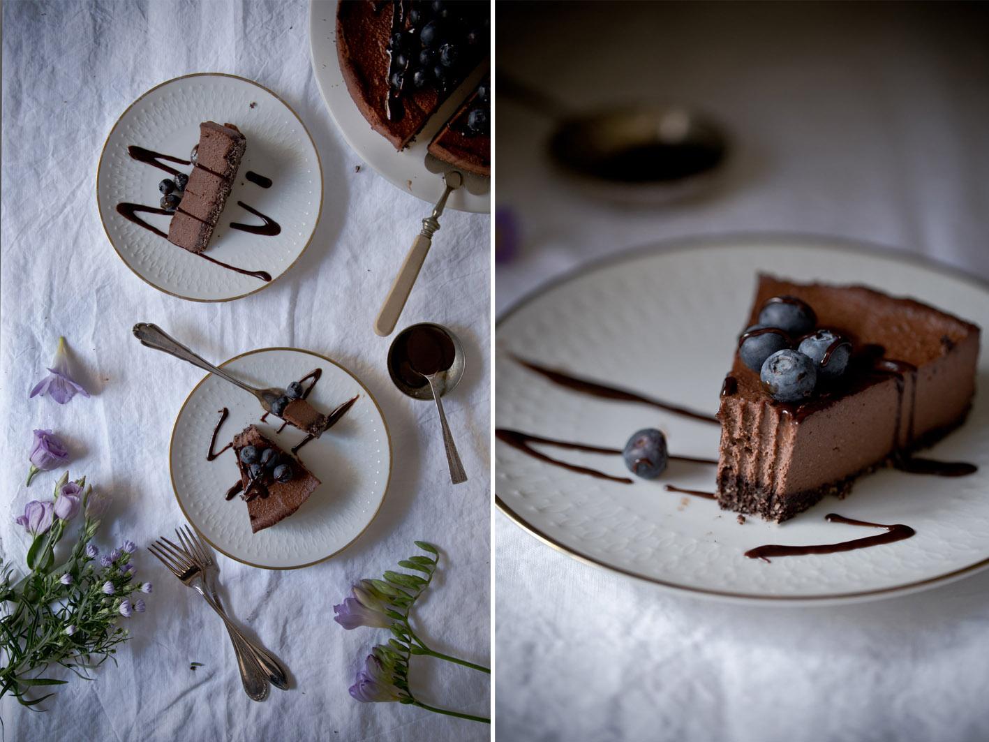 Stueck schokoladen cheesecake