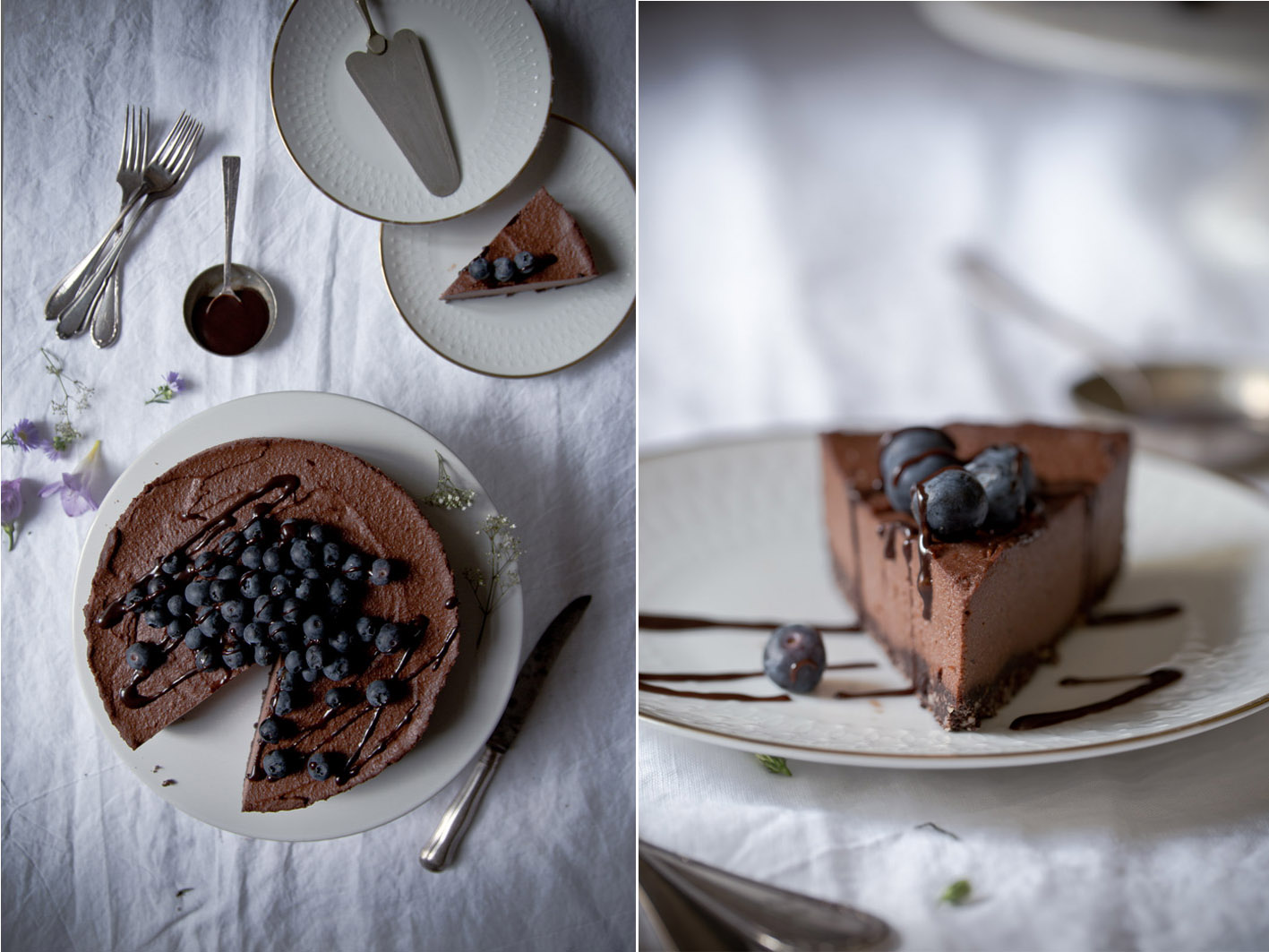 Schokoladen cheesecake angeschnitten