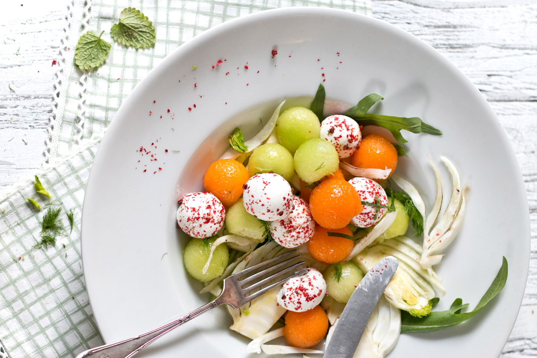 melonensalat mit ziegenkäse