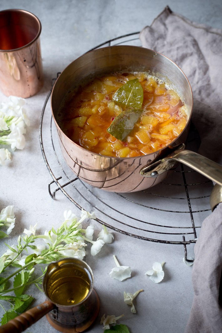 selbst gemachtes pfirsich chutney