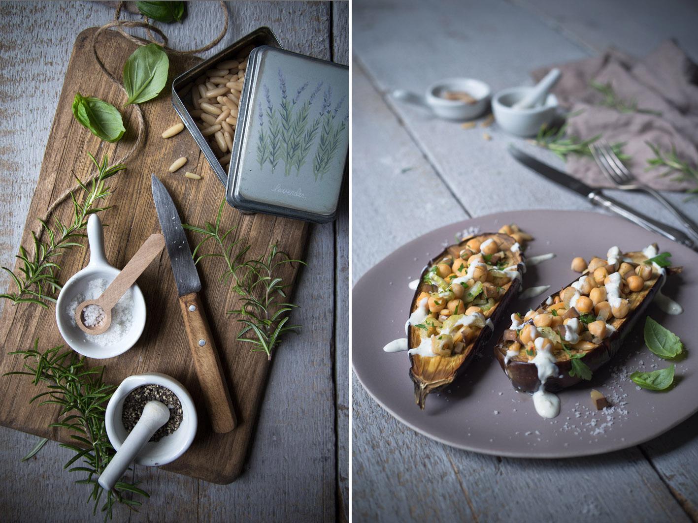 aubergine mit kräutern
