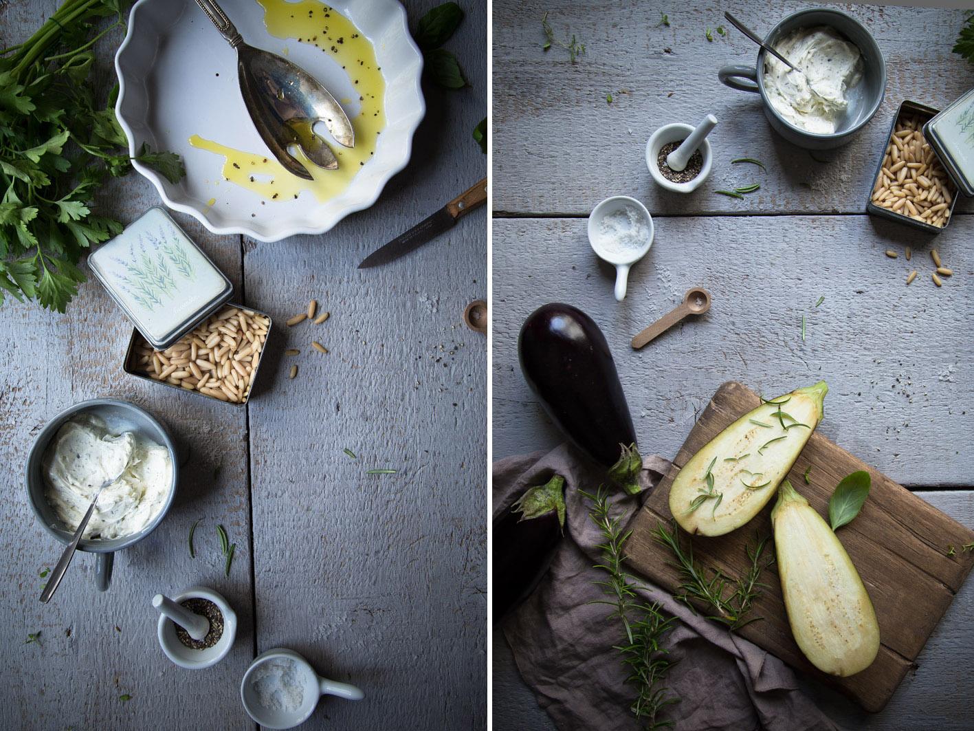 gebackene gefuellte aubergine