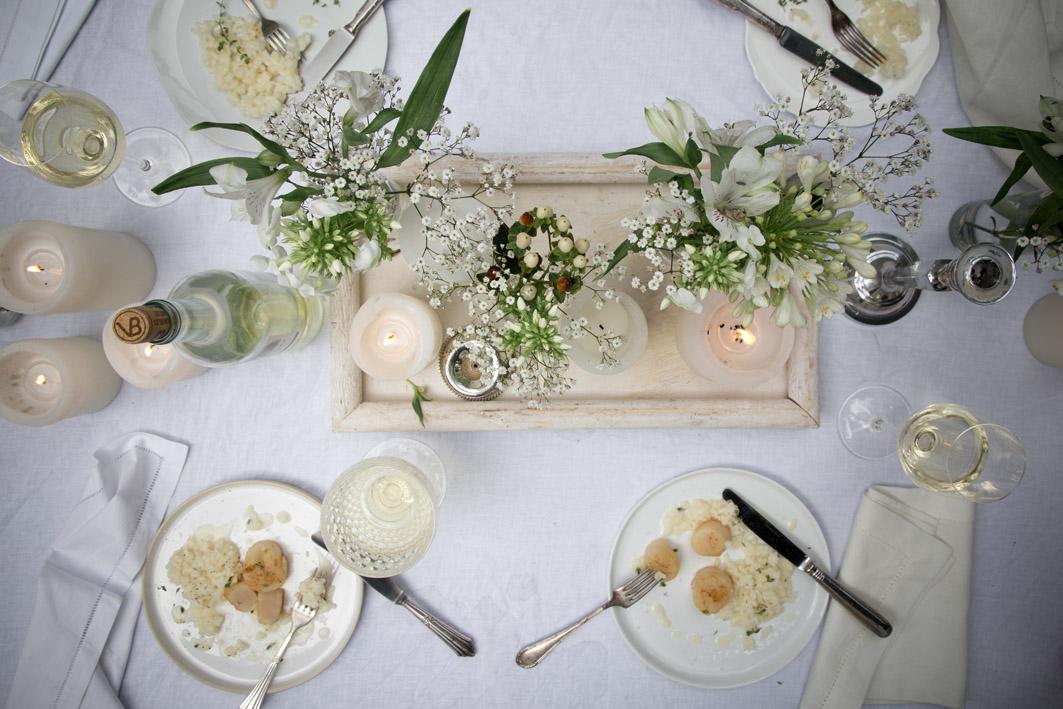 white dinner hauptgang