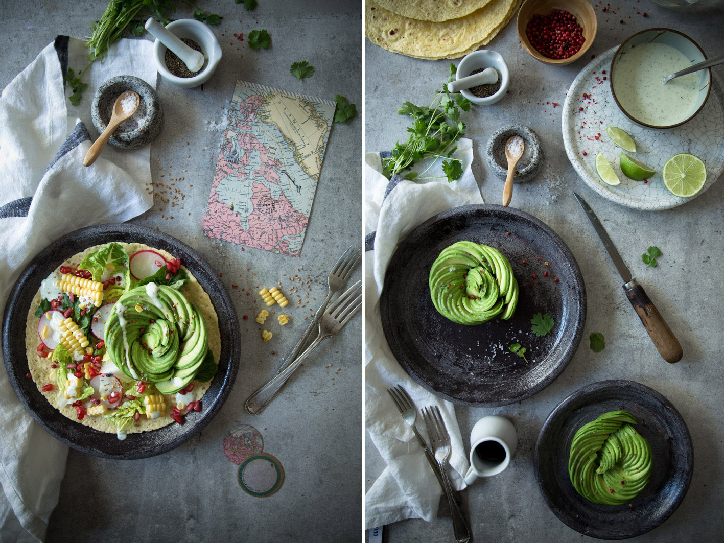 salat mit avocado rose