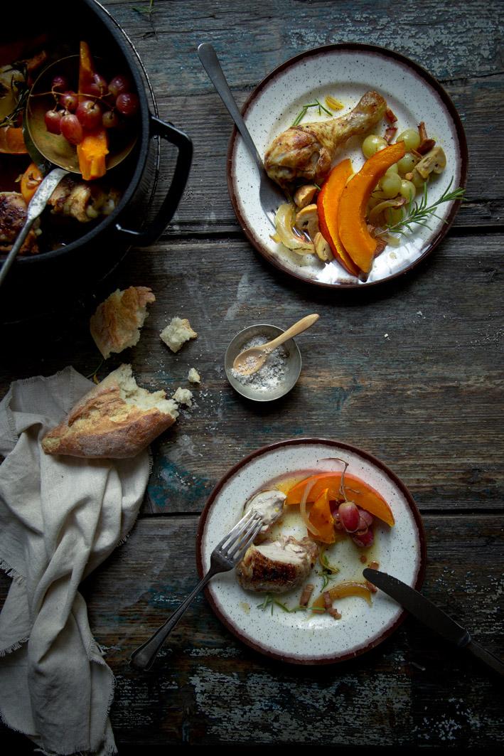 kürbis weißwein hühnchen