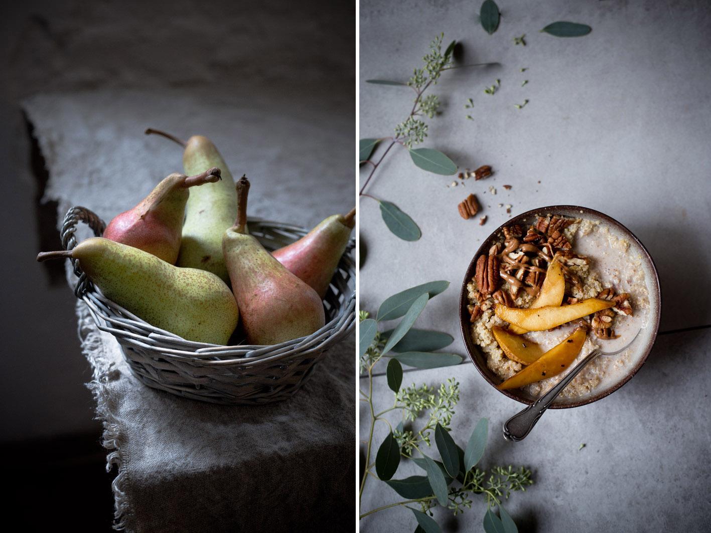 quinoa mit birnen und nuessen