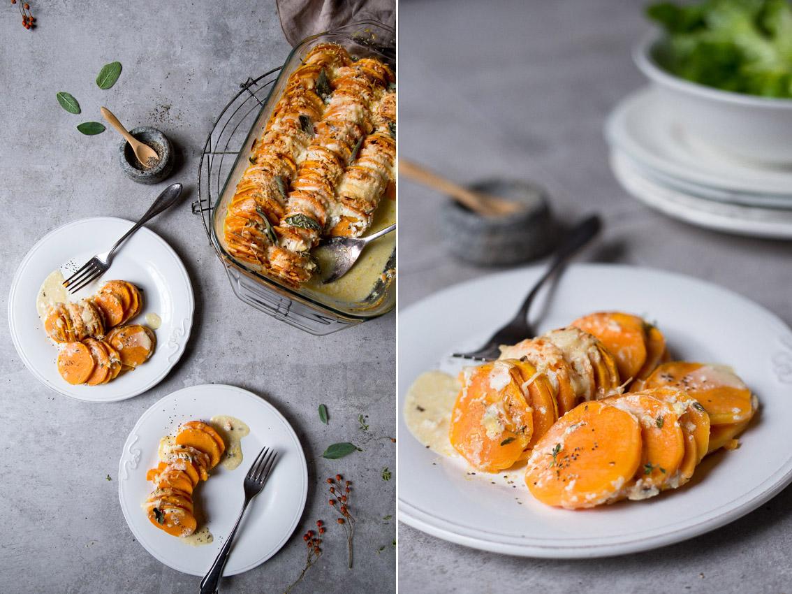 suesskartoffel gratin mit salbei