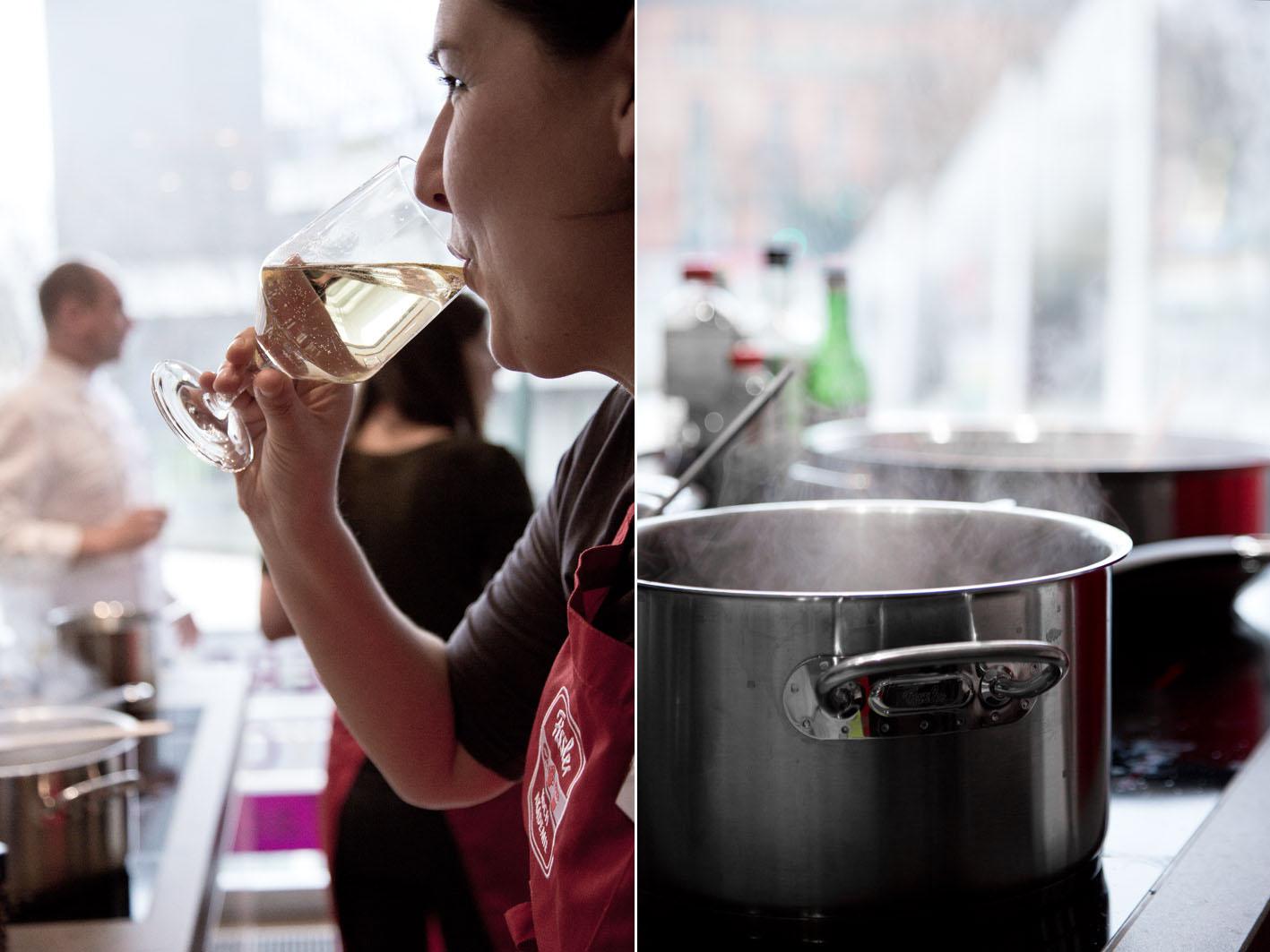 Wein Trinken in der Fissler-Kochakademie