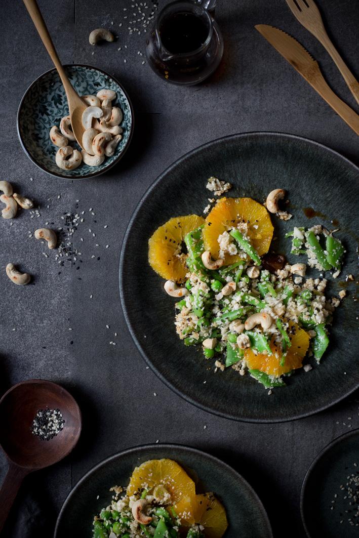 Blumenkohl Reissalat mit Orangen und Cashews