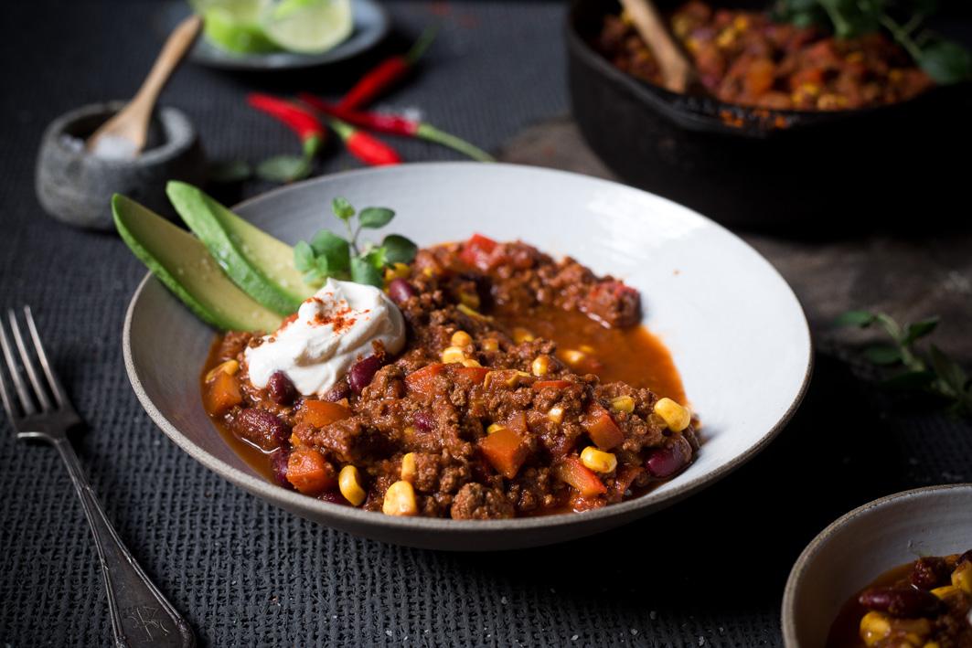 Rezept für Chili con Carne mit Mais und Paprika