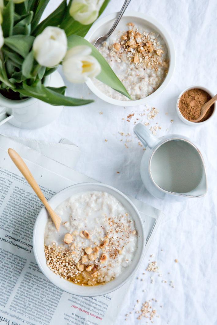 Rezept für cremigen Haferbrei zum Frühstück