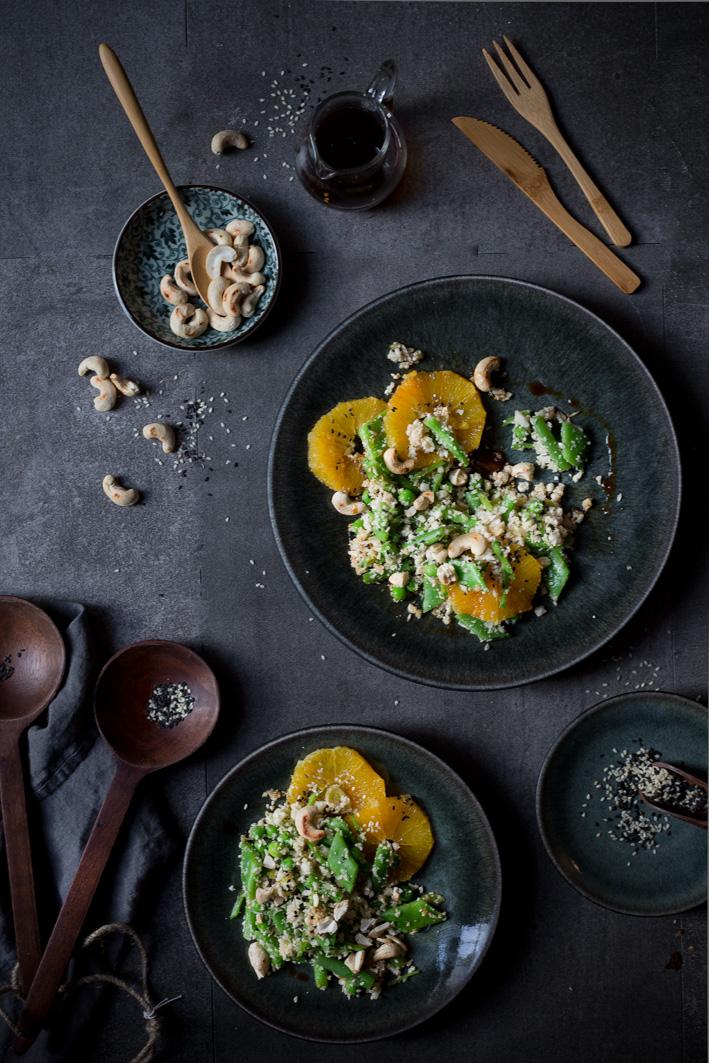 Cauliflower-Rice mit Orangen und Sesam