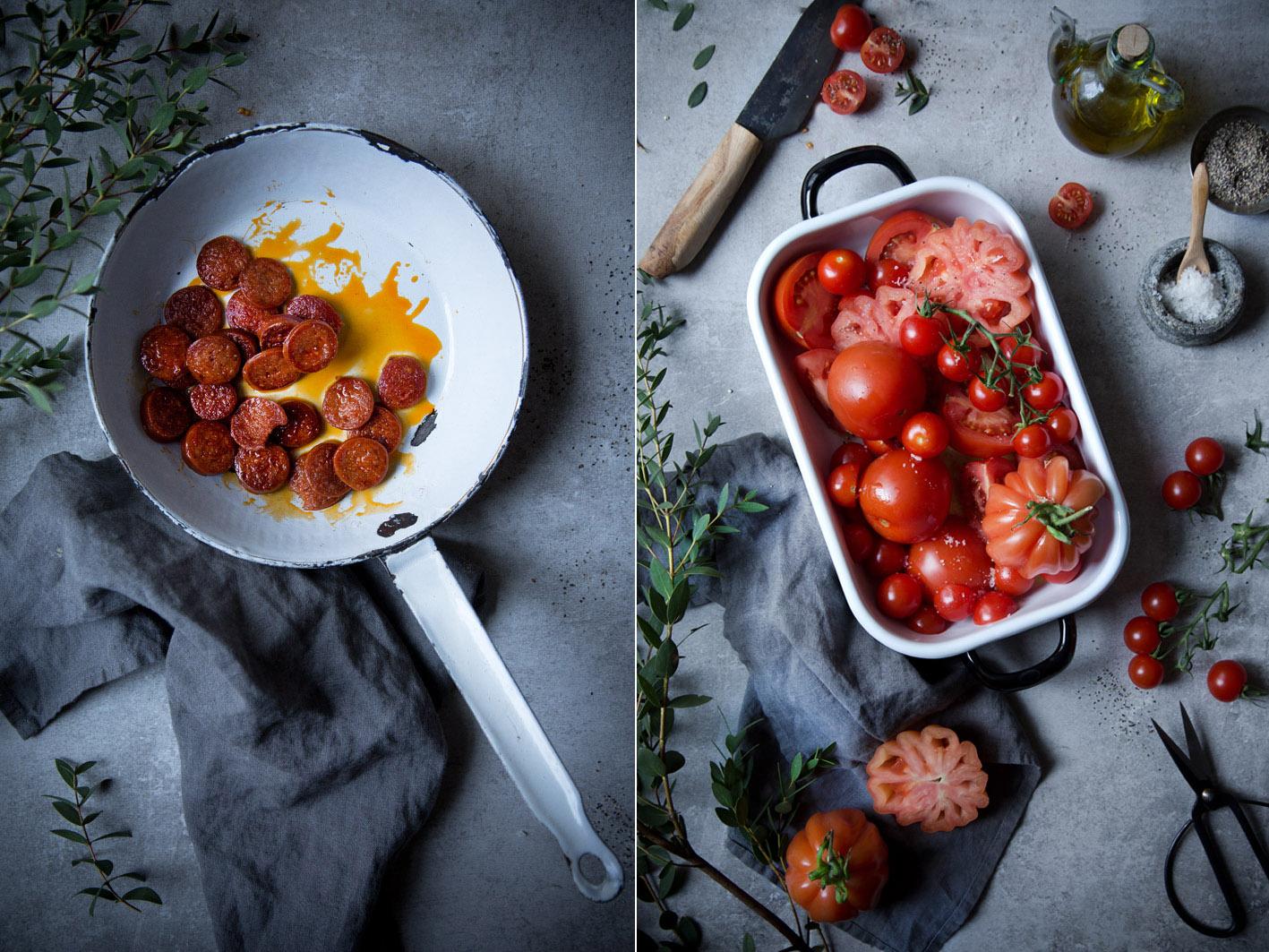 Chorizo und Tomaten