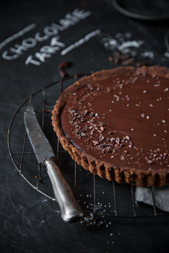 Salzkaramell-Schokoladentarte, vegan mit Dattelkaramell