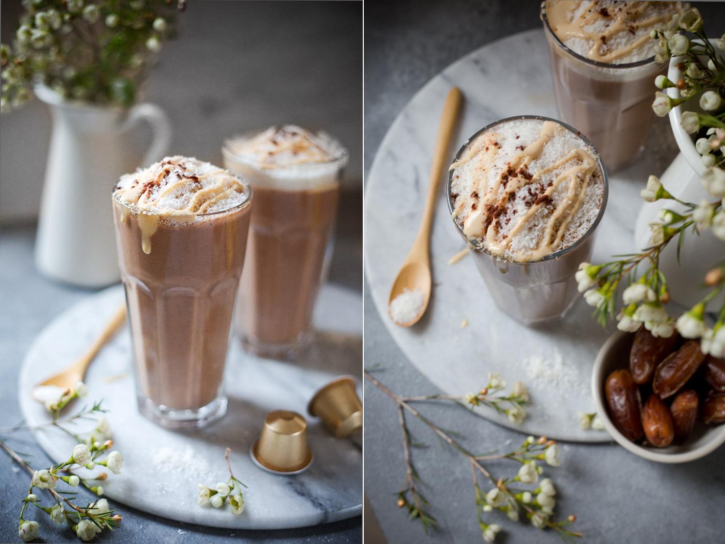 Smoothie mit Kaffee und Datteln