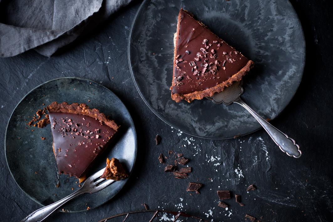 Vegane Schokoladen-Karamell-Tarte