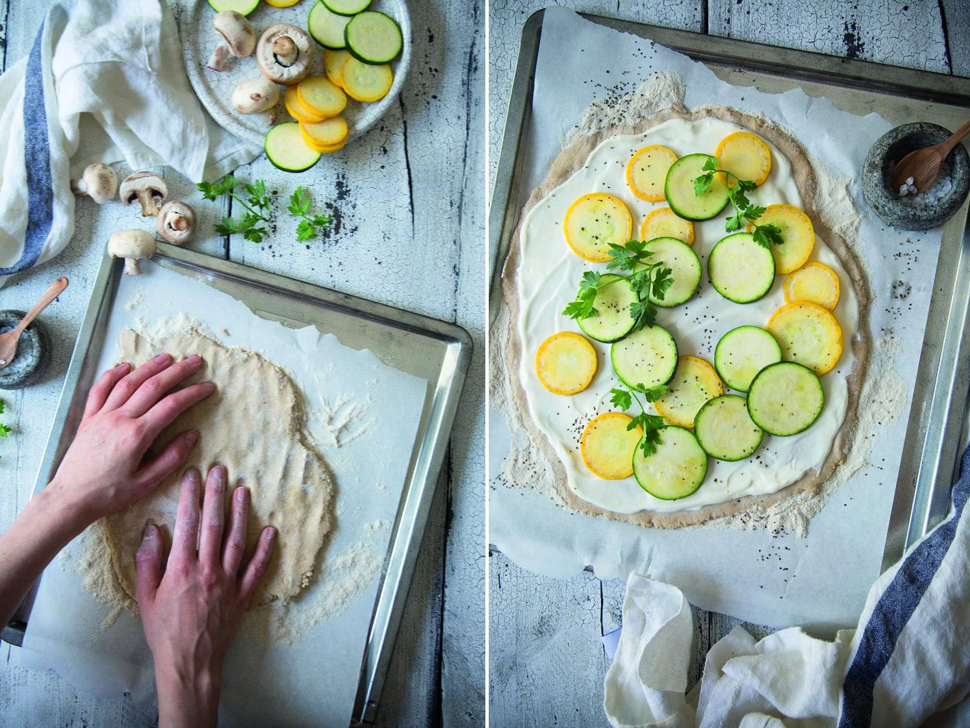 Zubereitung Zucchini Flammkuchen