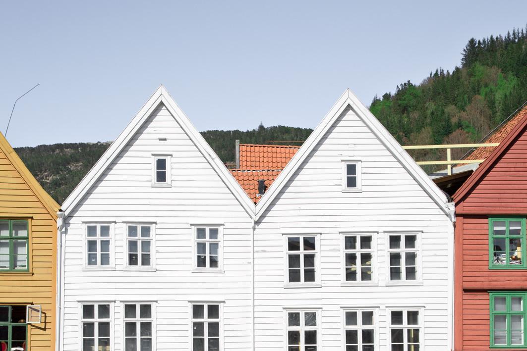 Häuserdächer in Bergen