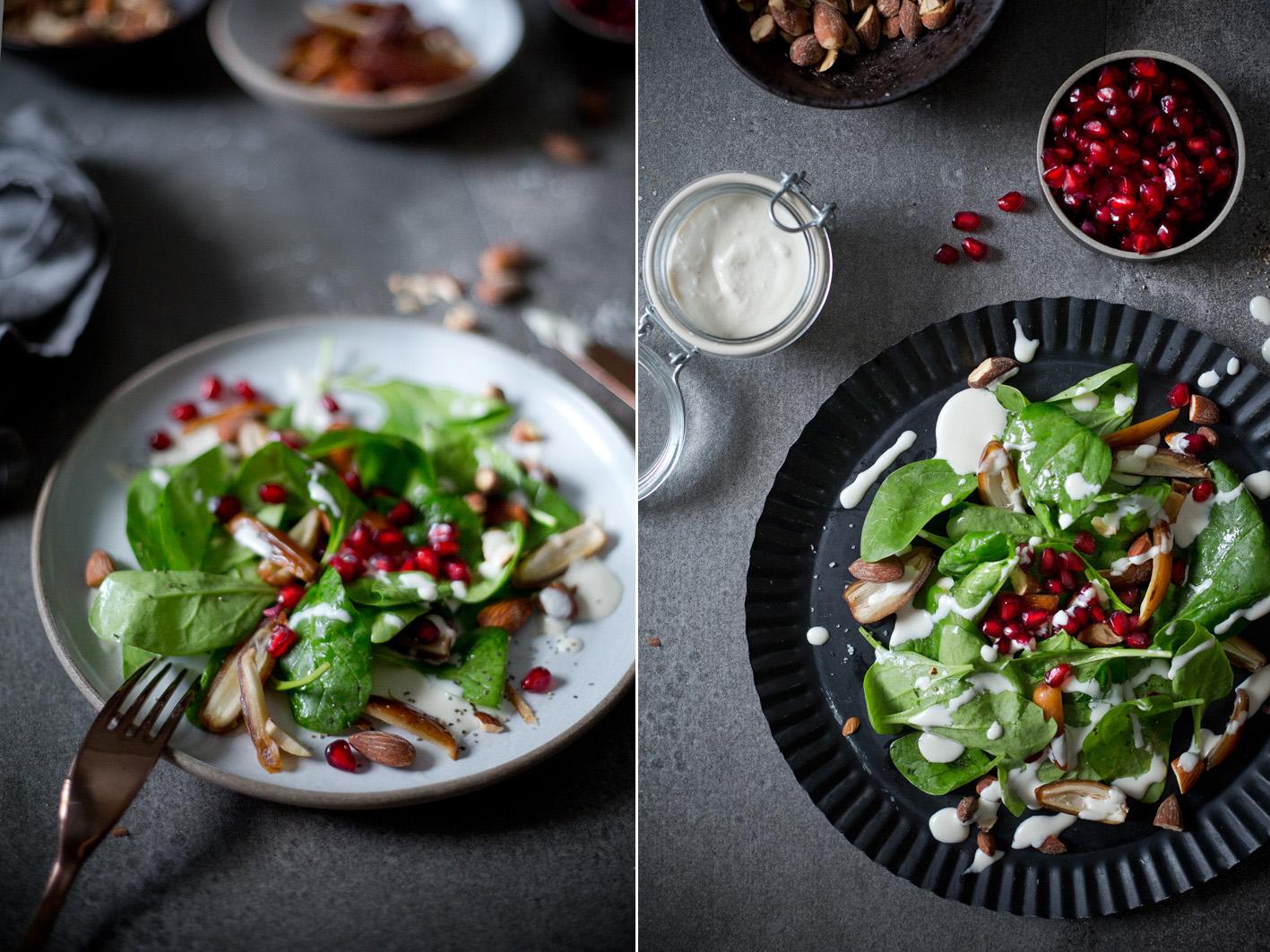 Salat mit Spinat, Mandeln und Granatapfel