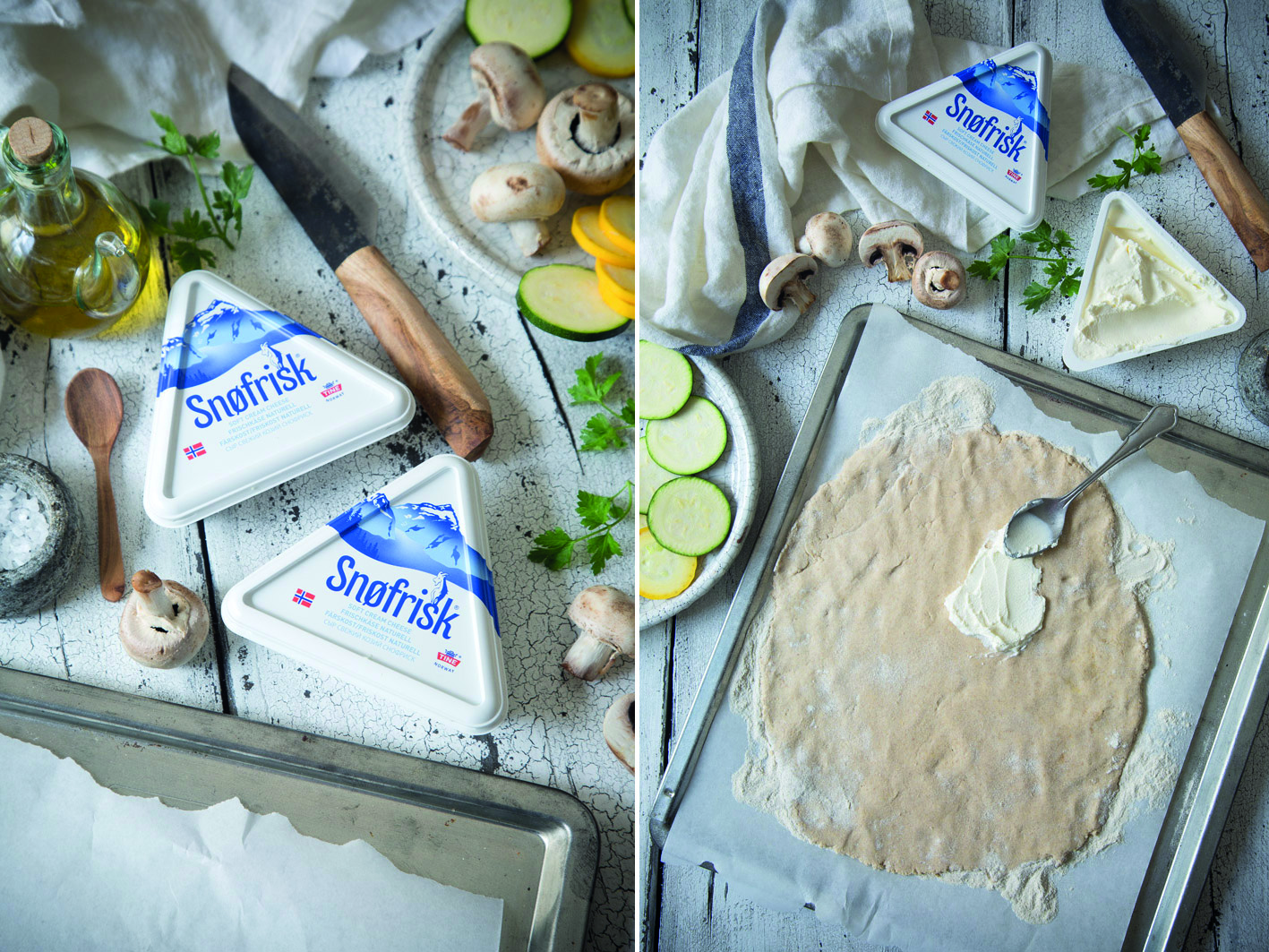 Zutaten für Zucchini Spargel Flammkuchen