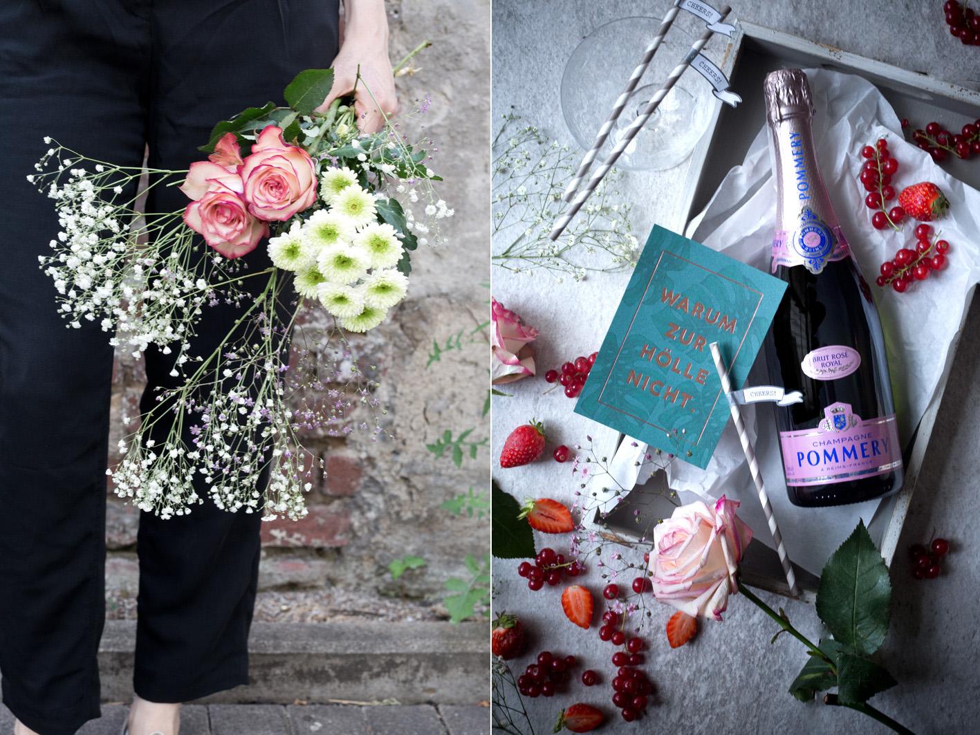 Pommery und Blumenstrauß