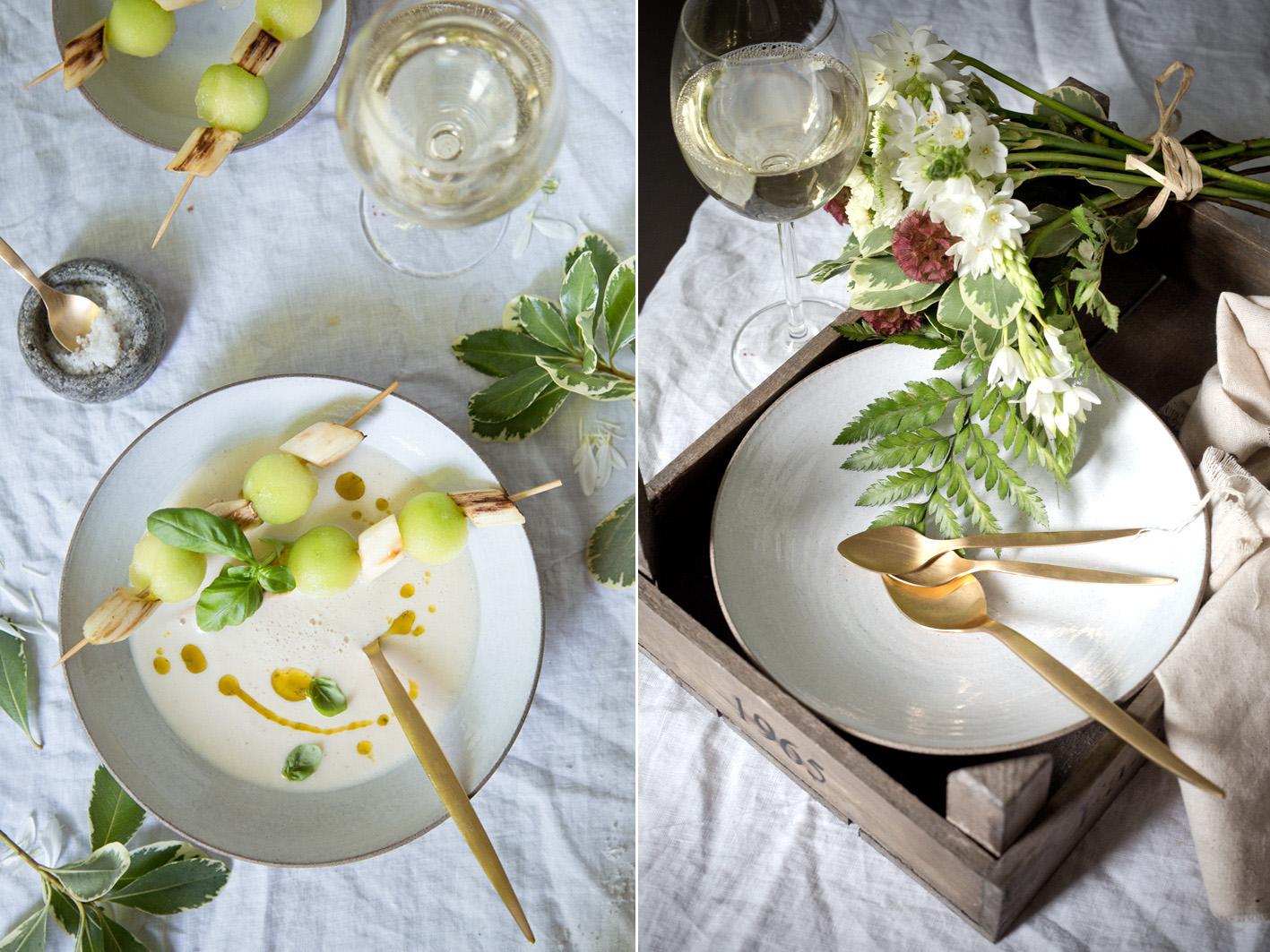 Exotische Spargelsuppe mit Kokosmilch und Melone