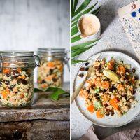 Hirsesalat mit Rosinen, Kichererbsen und Möhren
