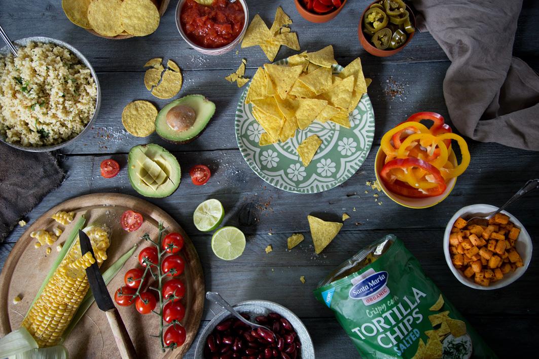 Zutaten für mexikanischen Taco Salat