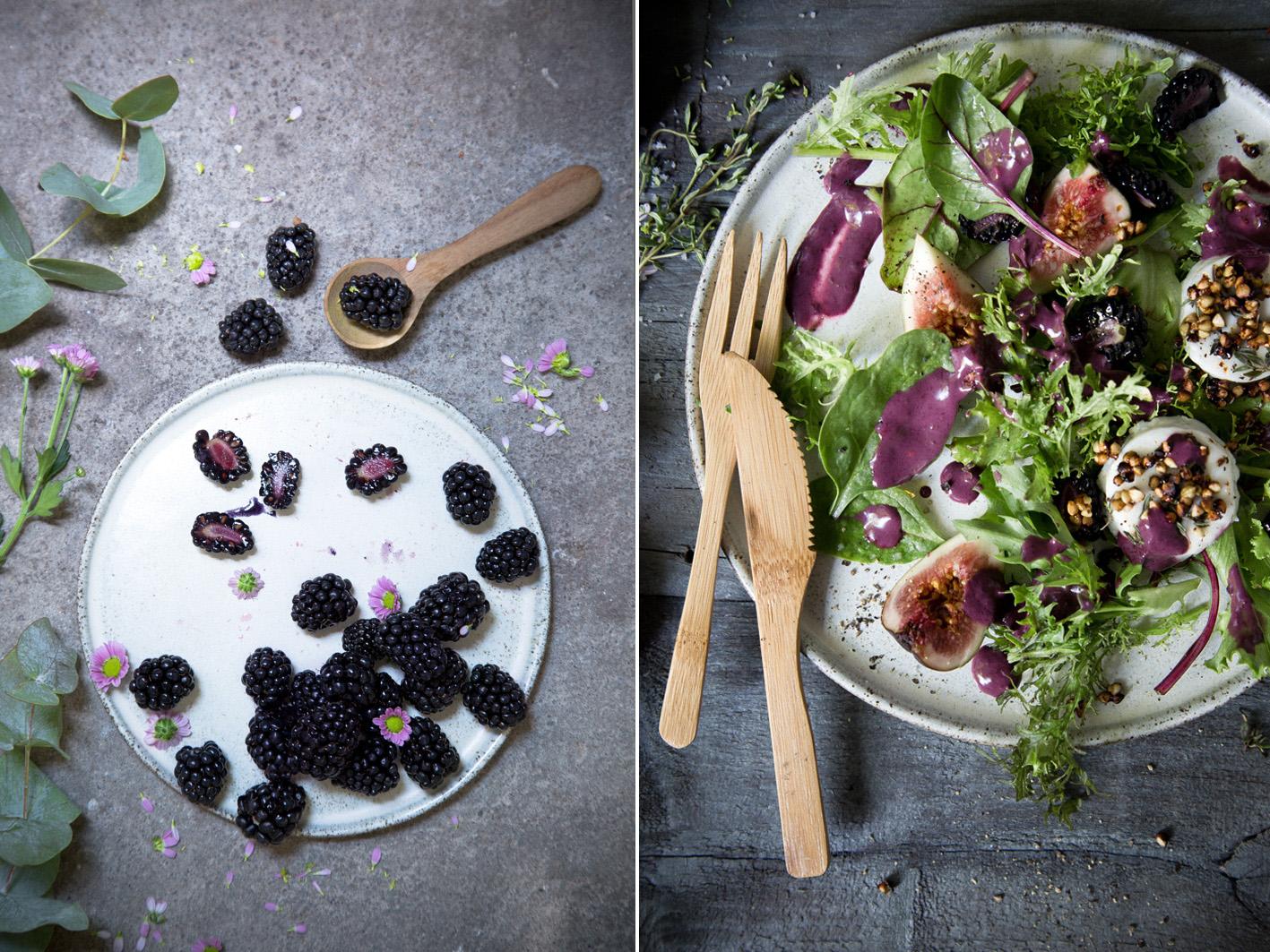 Salat mit Brombeerdressing und Ziegenkäse