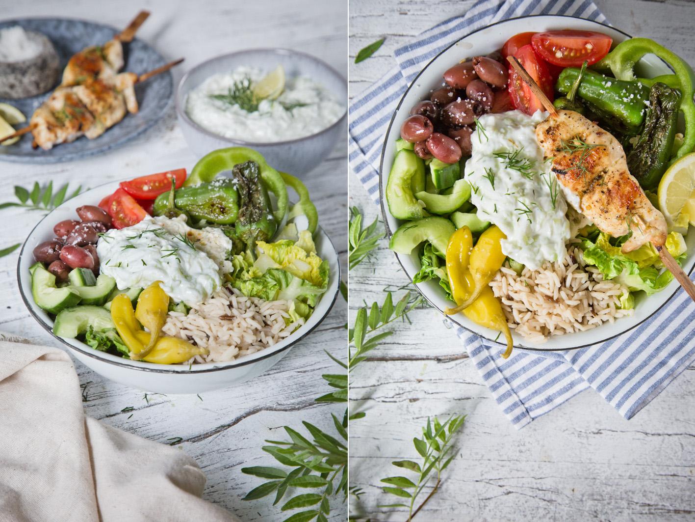 Griechischer Salat mit Reis und Tsatsiki