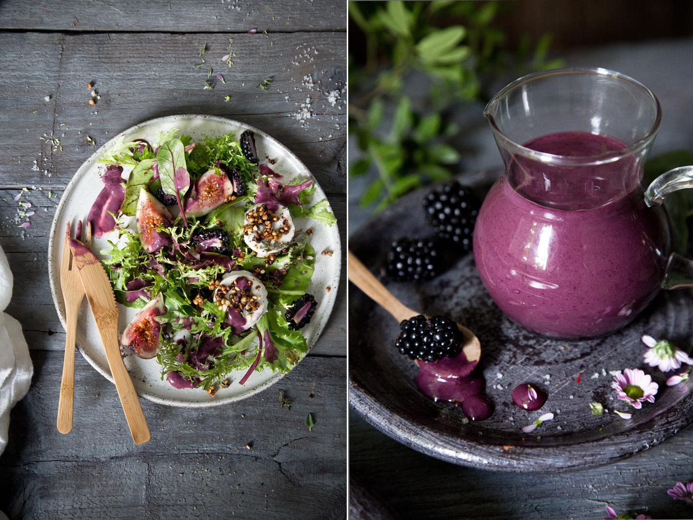 Sommerlicher Salat mit Brombeer Dressing