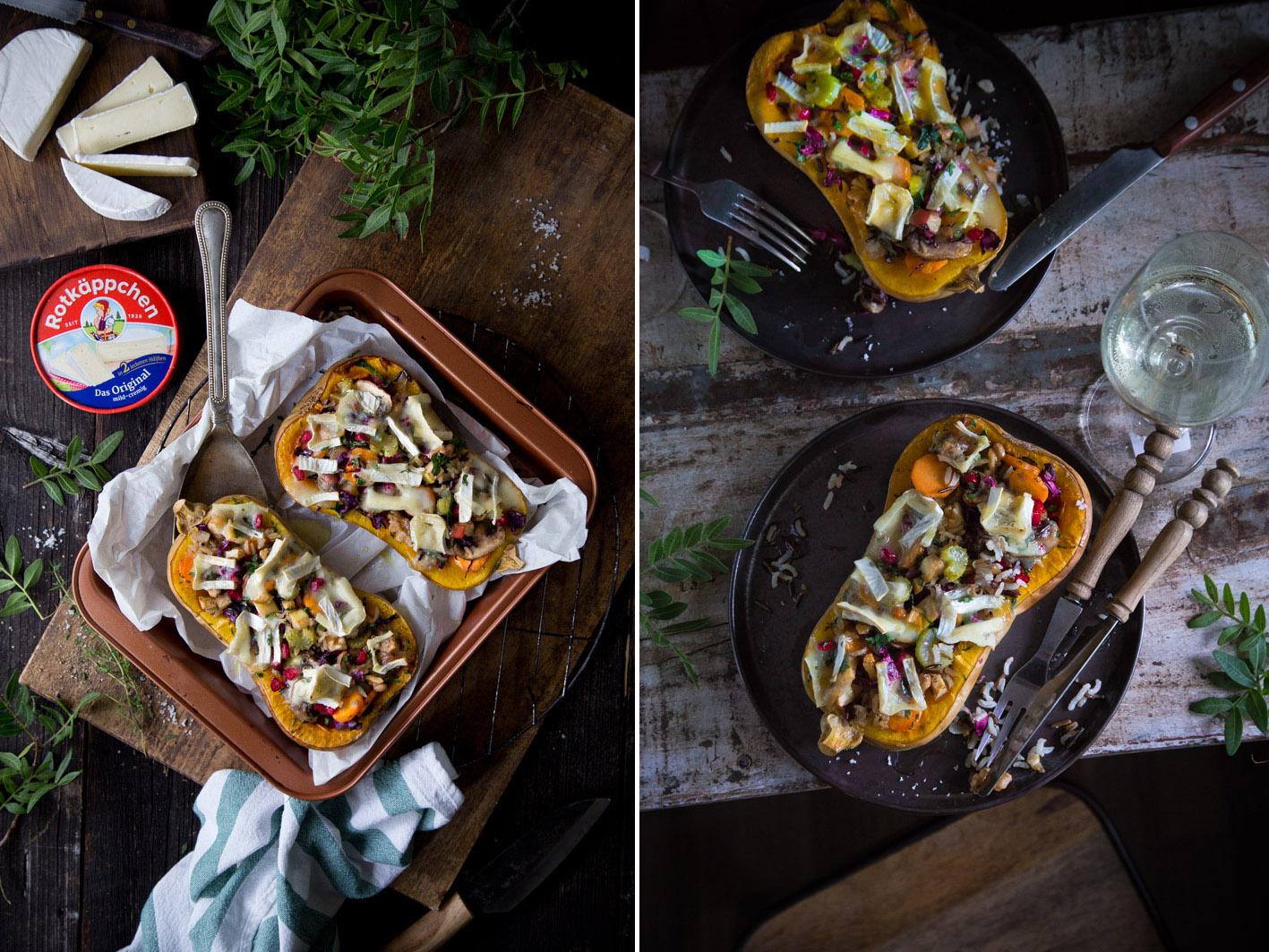 Überbackener Kürbis mit Camembert
