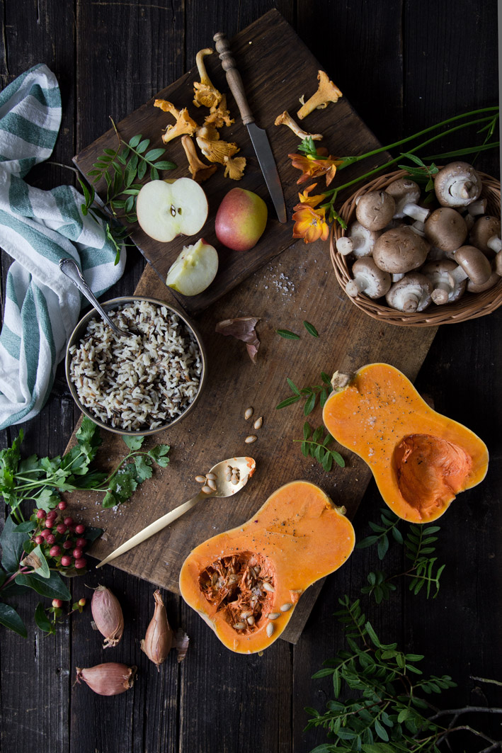 Zutaten für gefüllten Ofenkürbis