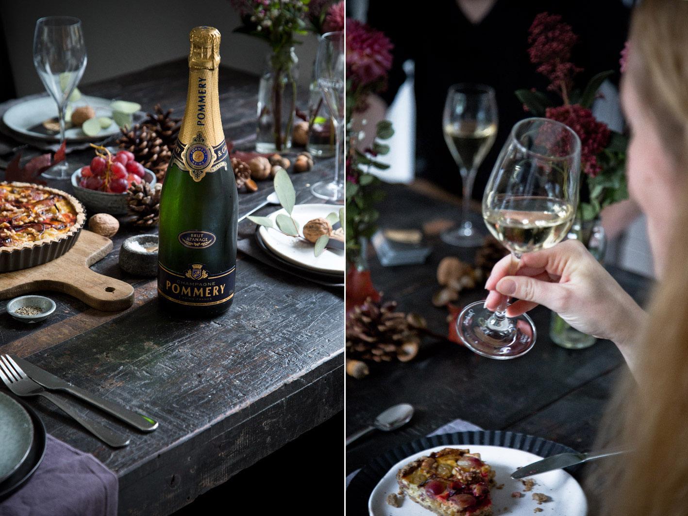 Flasche Champagner zu einem herbstlichen Dinner