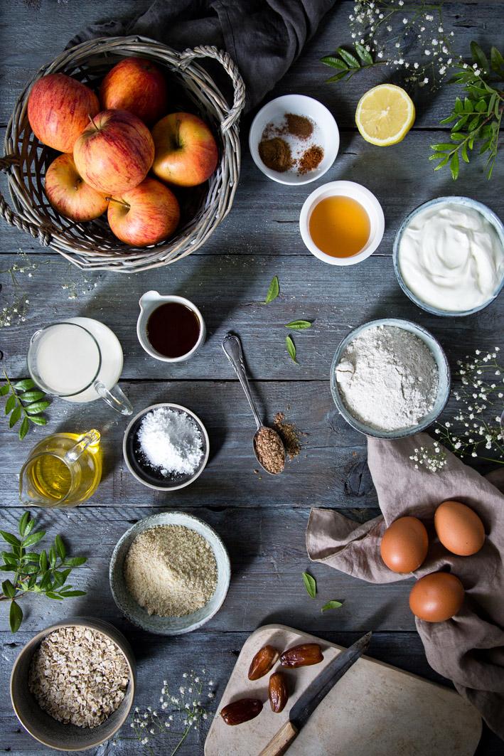 Zutaten für gesunden Apfelkuchen