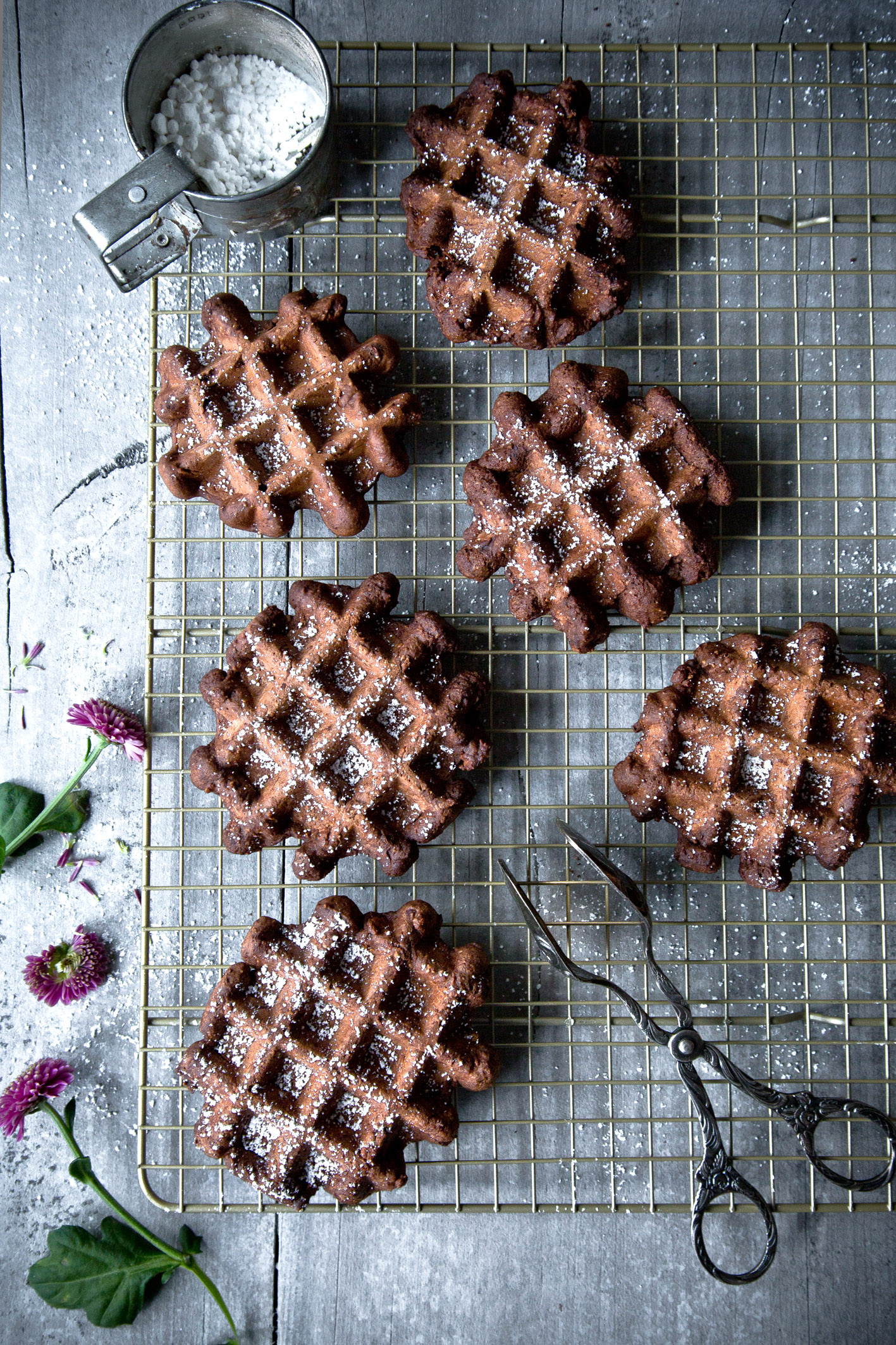 Dicke Schokoladenwaffeln aus gesunden Zutaten (glutenfrei, fettarm)