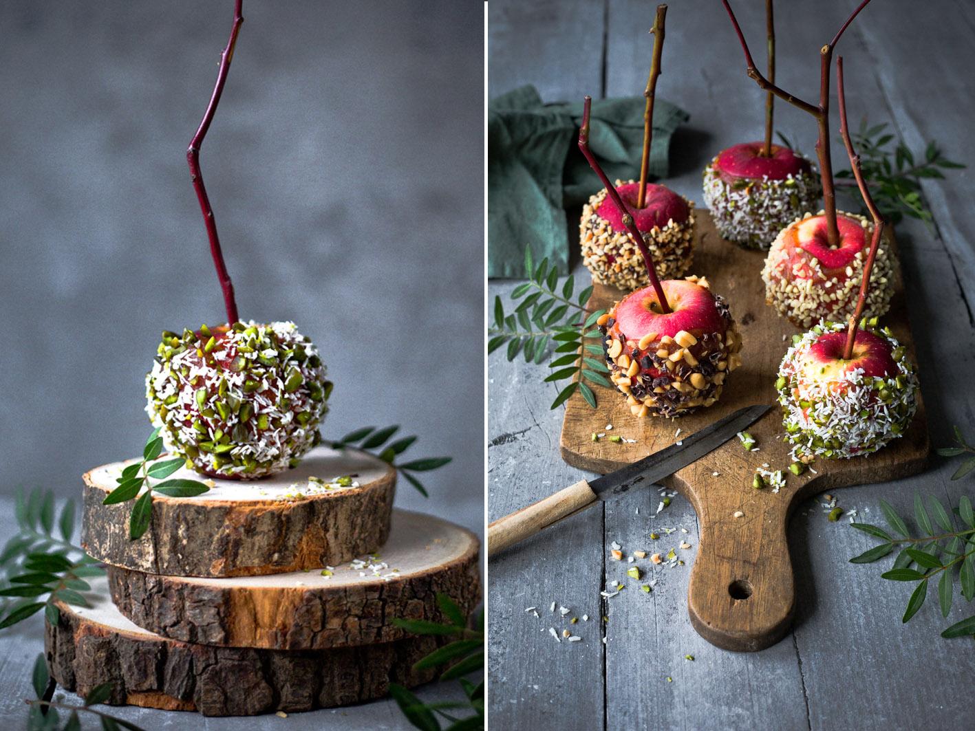 Gesunde Candy Apples mit Dattelkaramell