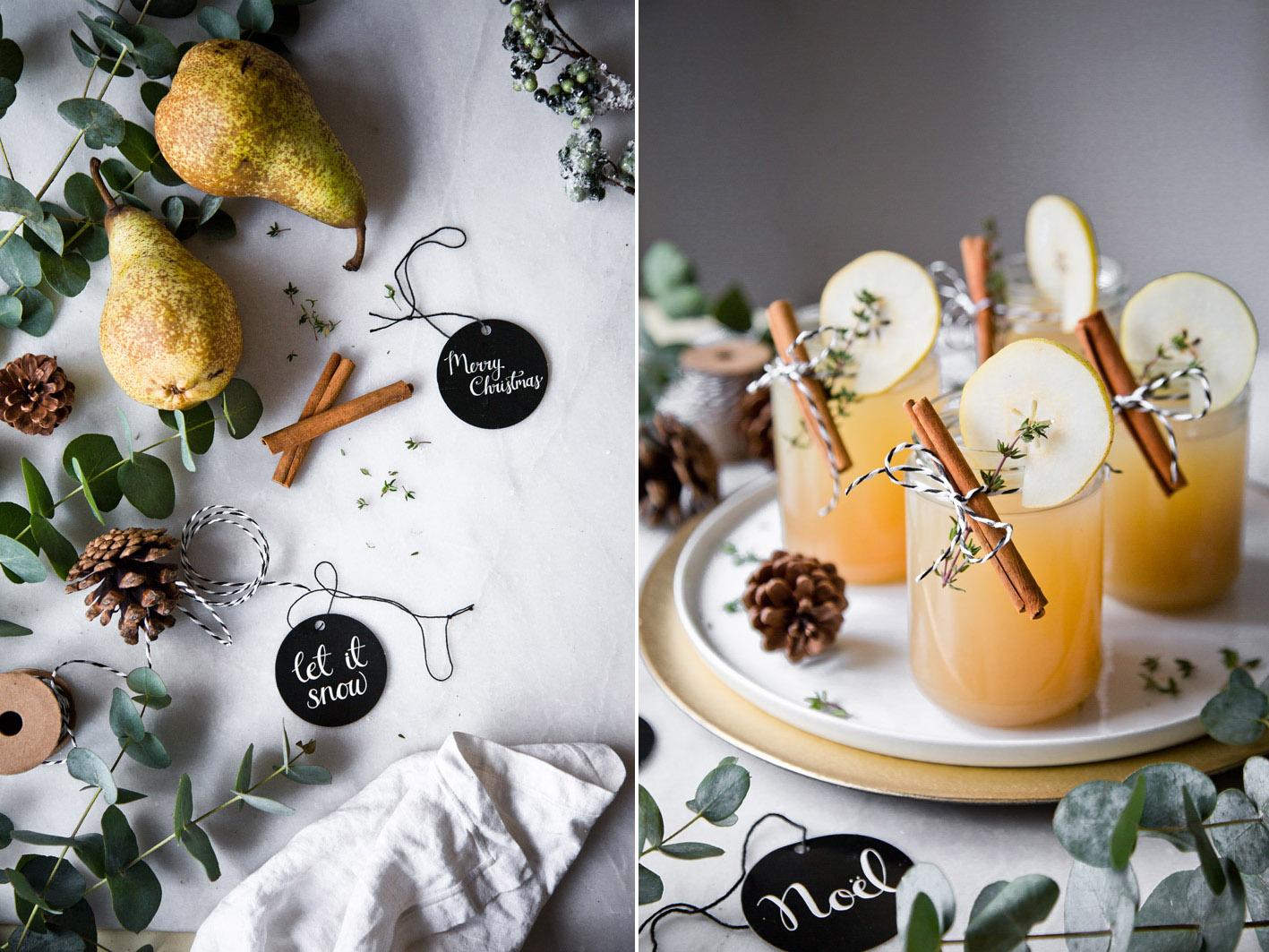 Weihnachtlicher Cocktail mit Birne, Zimt und Thymian