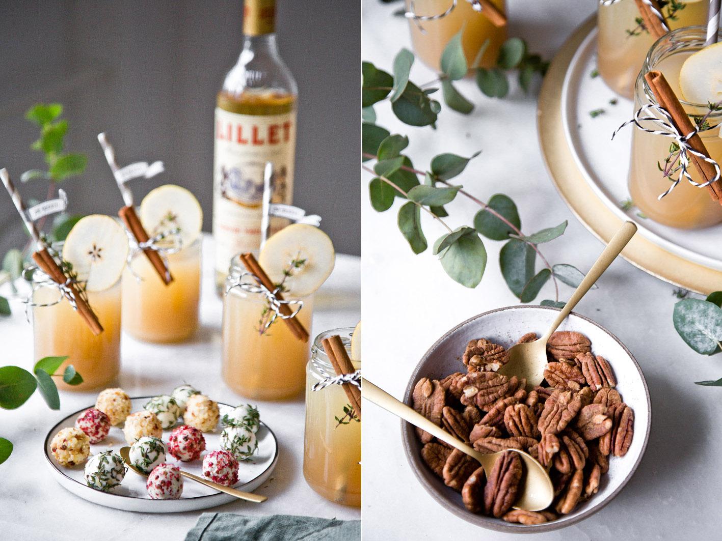 Weihnachts-Cocktail mit Birne, Zimt und Thymian