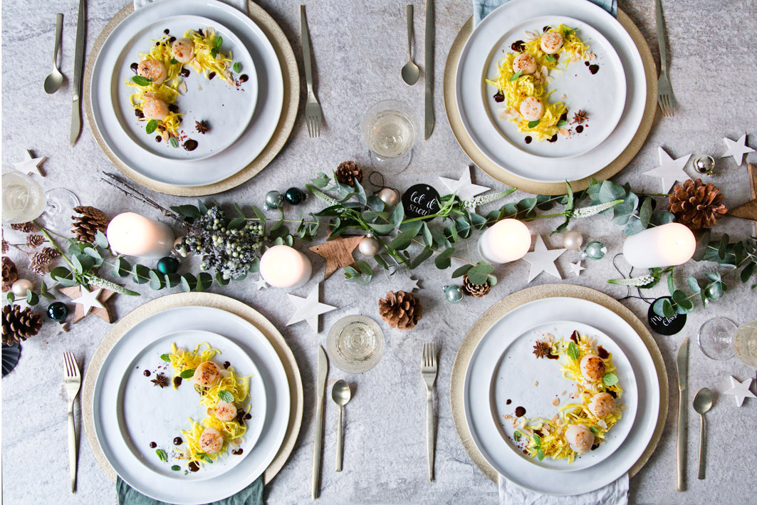 Weihnachtliche Vorspeise mit Muscheln