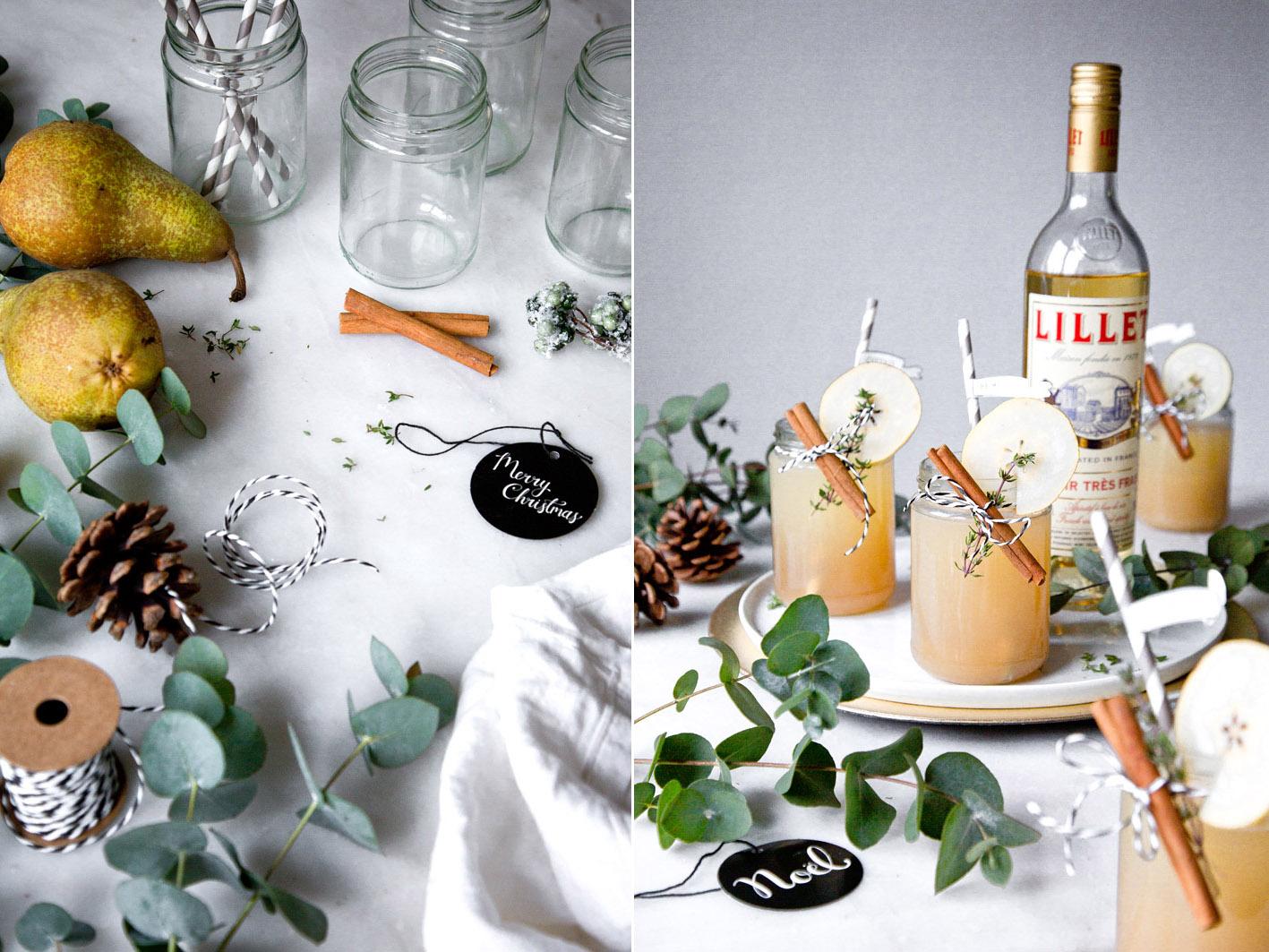 Winterlicher Cocktail mit Lille Blanc, Birne und Zimt