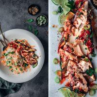Lachs in Sriracha Marinade mit Glasnudelsalat