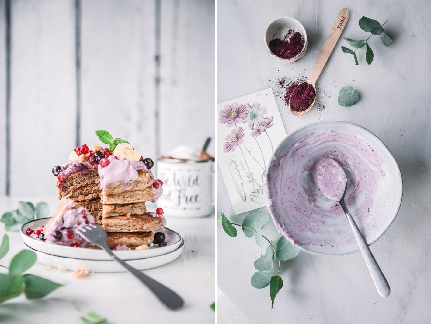 Haferflockenpancakes mit Beerenquark