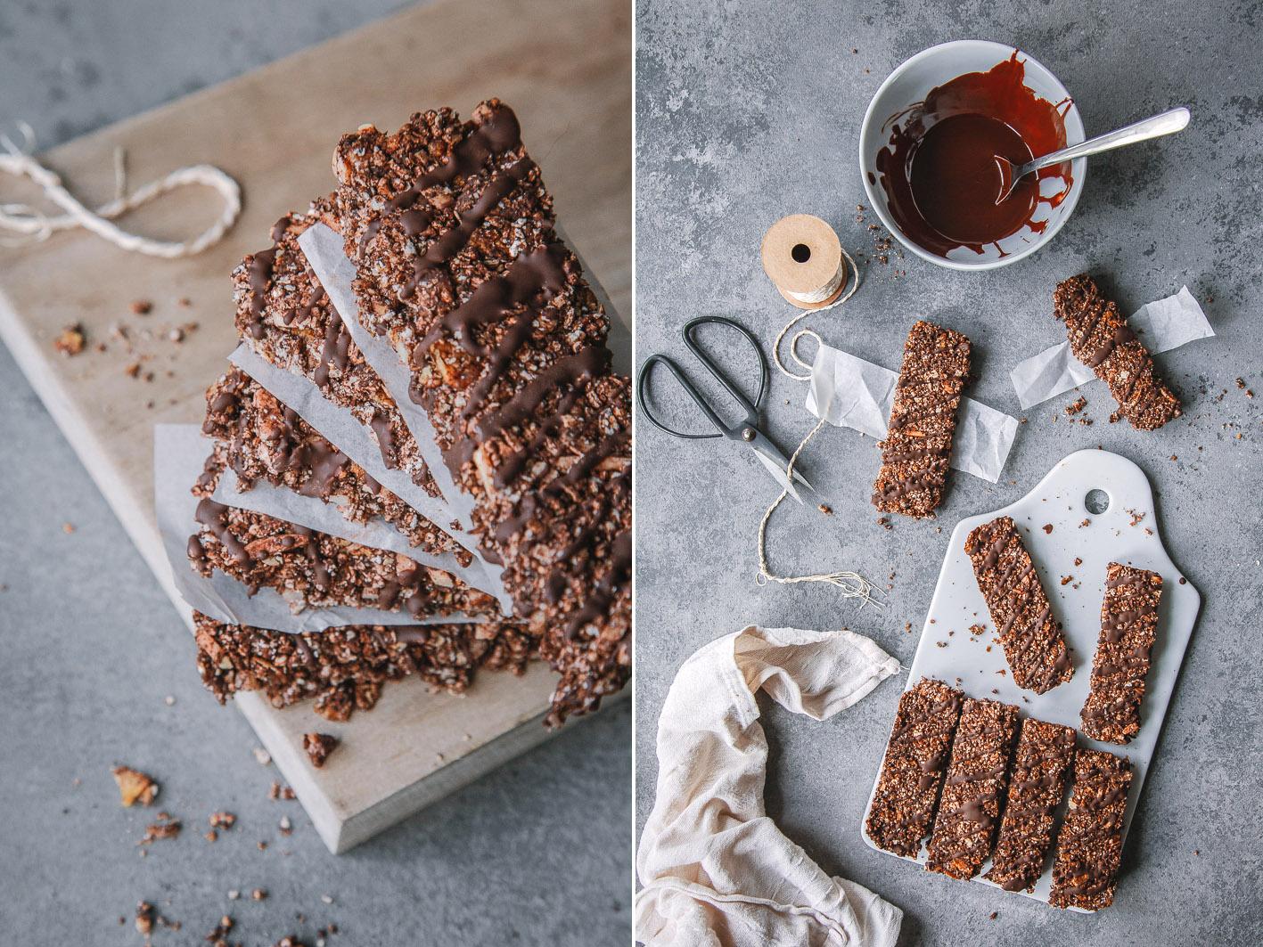 Schokoladen-Müsliriegel aus gesunden Zutaten