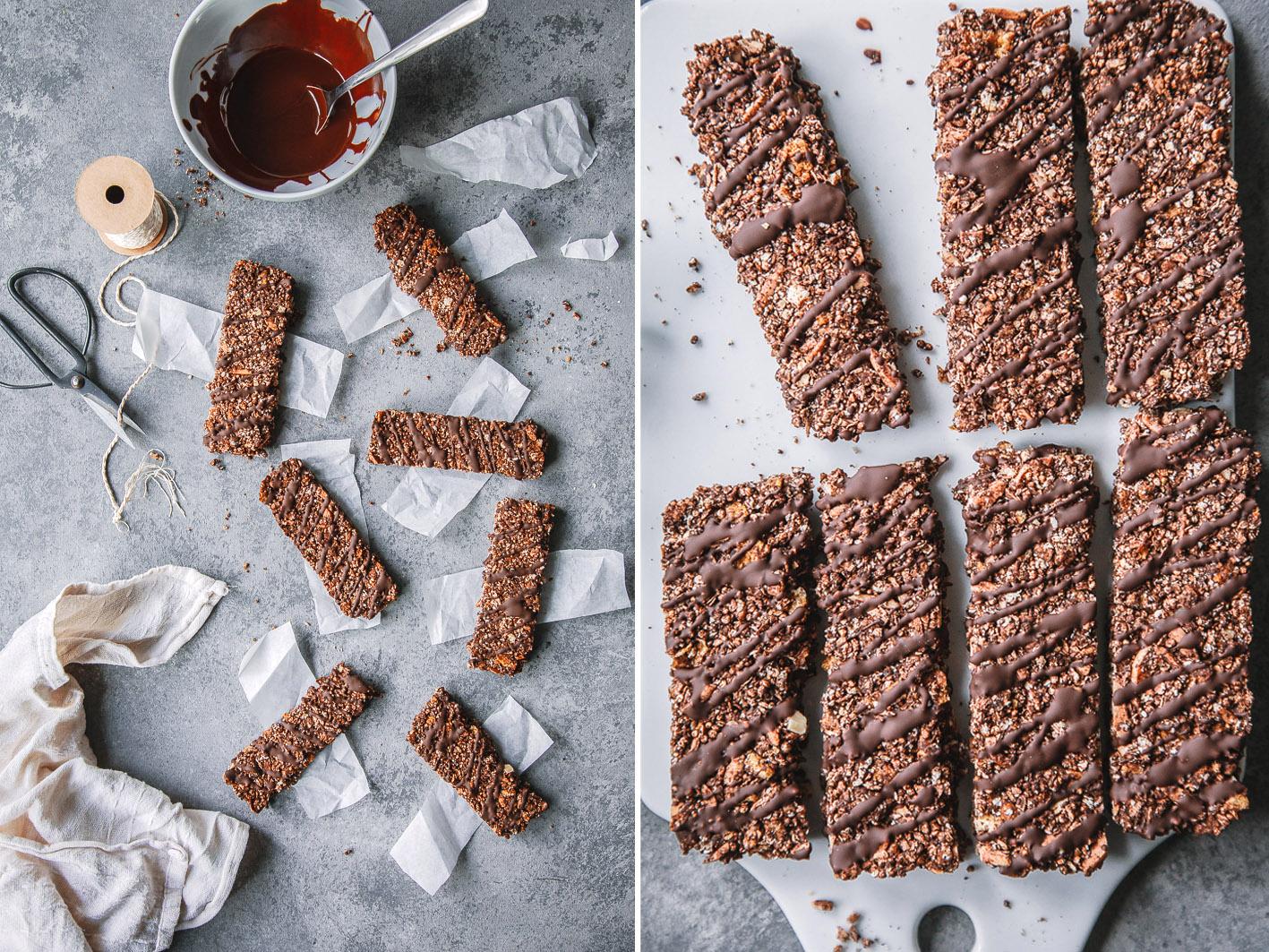 Knusper-Müsliriegel mit Schokolade