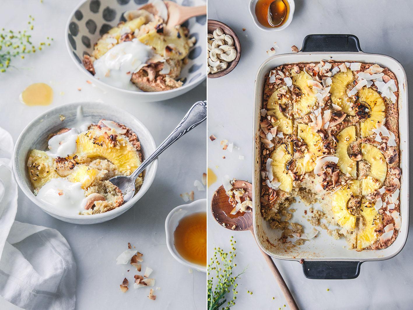 Himmlischer Frühstücksauflauf mit Ananas und Kokosmilch