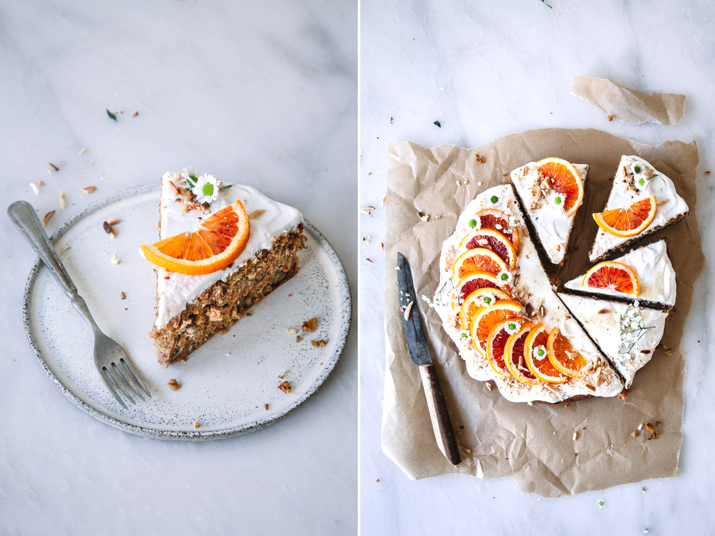 Saftiger Möhrenkuchen mit Orangen